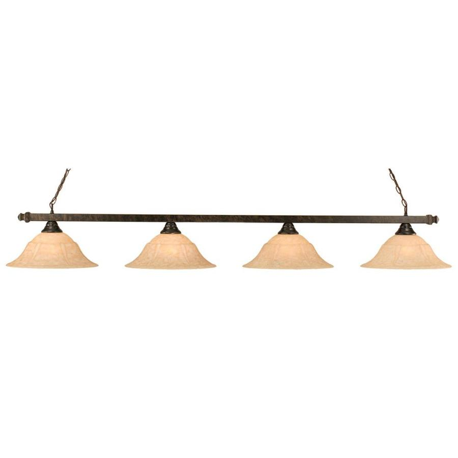 Divina 16-in W 4-Light Bronze Standard Kitchen Island Light with Tinted Shade