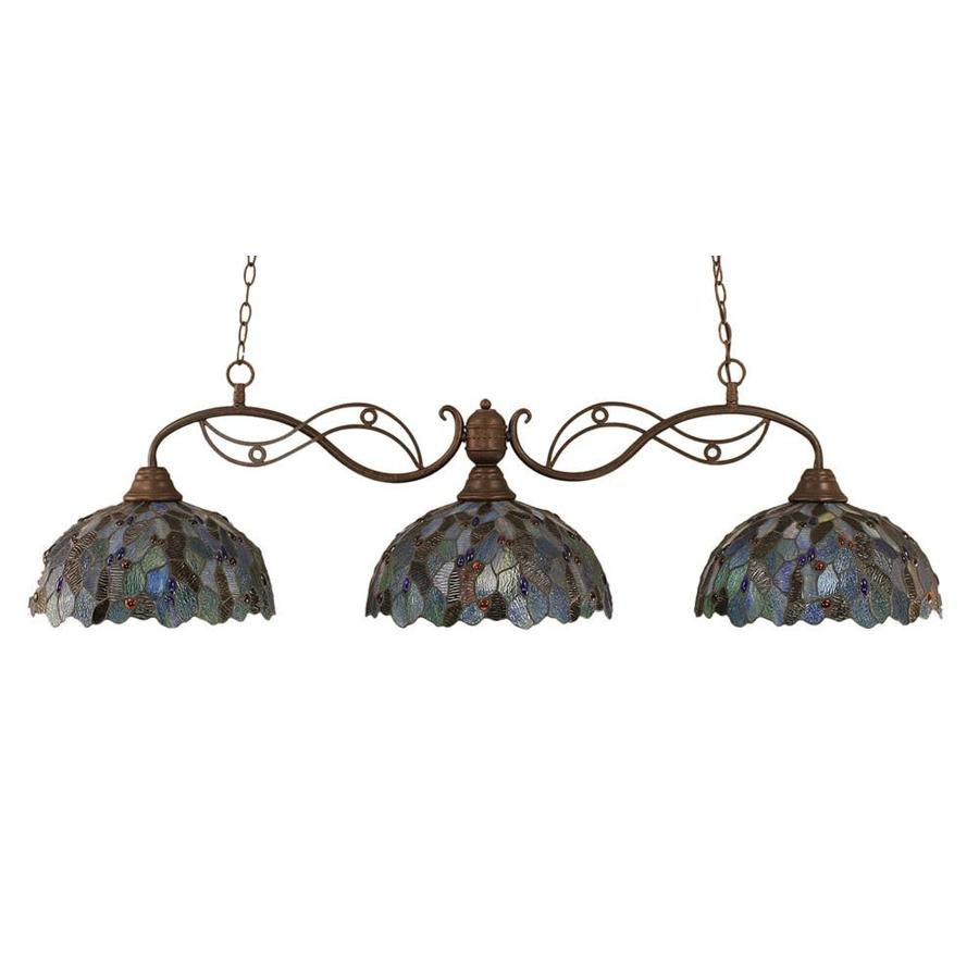 Divina 16-in W 3-Light Bronze Kitchen Island Light with Tiffany-Style Shade