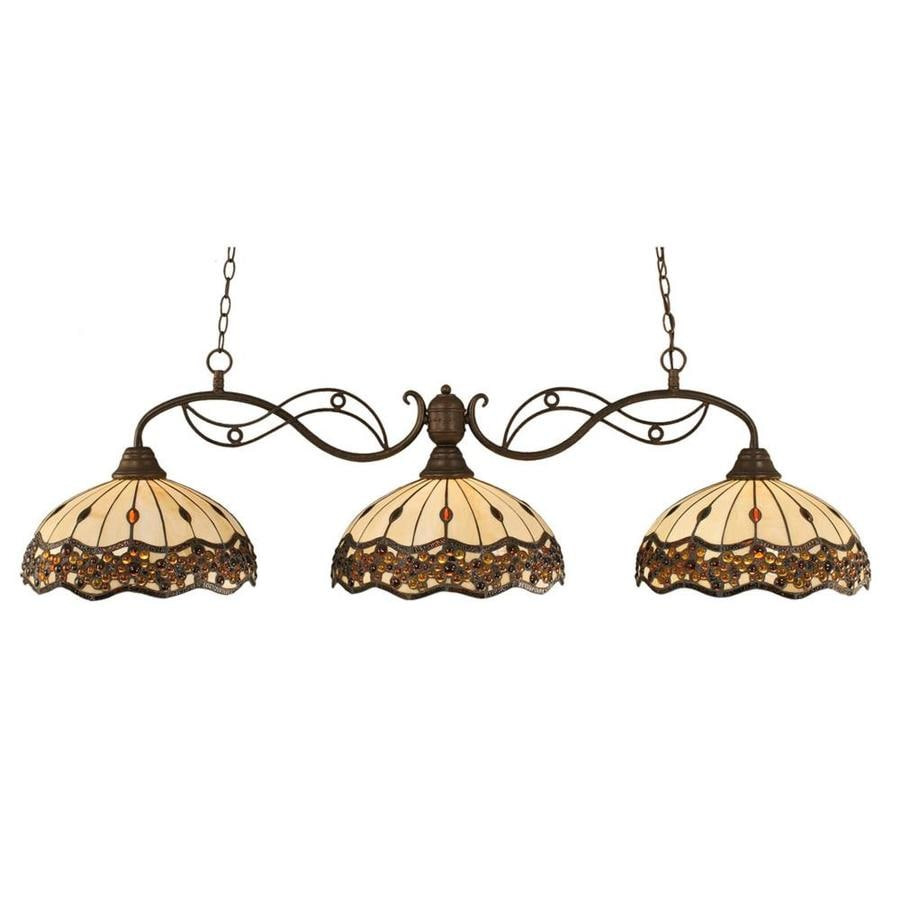 Shop Divina 16-in W 3-Light Bronze Kitchen Island Light with Tiffany ...