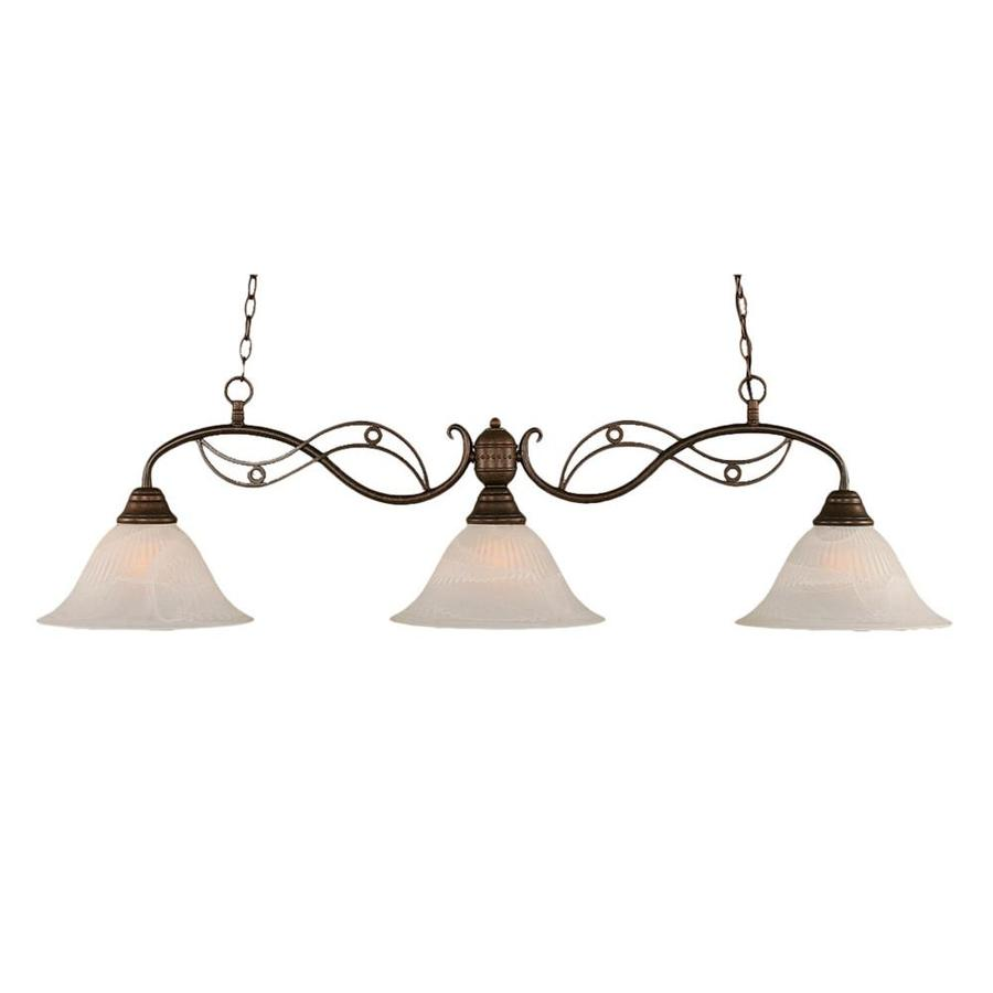 Divina 14-in W 3-Light Bronze Standard Kitchen Island Light with Frosted Shade