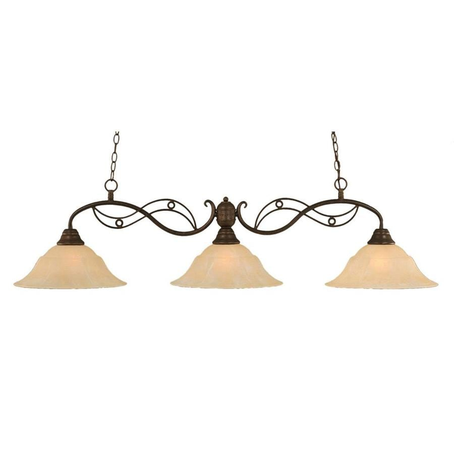 Divina 16-in W 3-Light Bronze Standard Kitchen Island Light with Tinted Shade