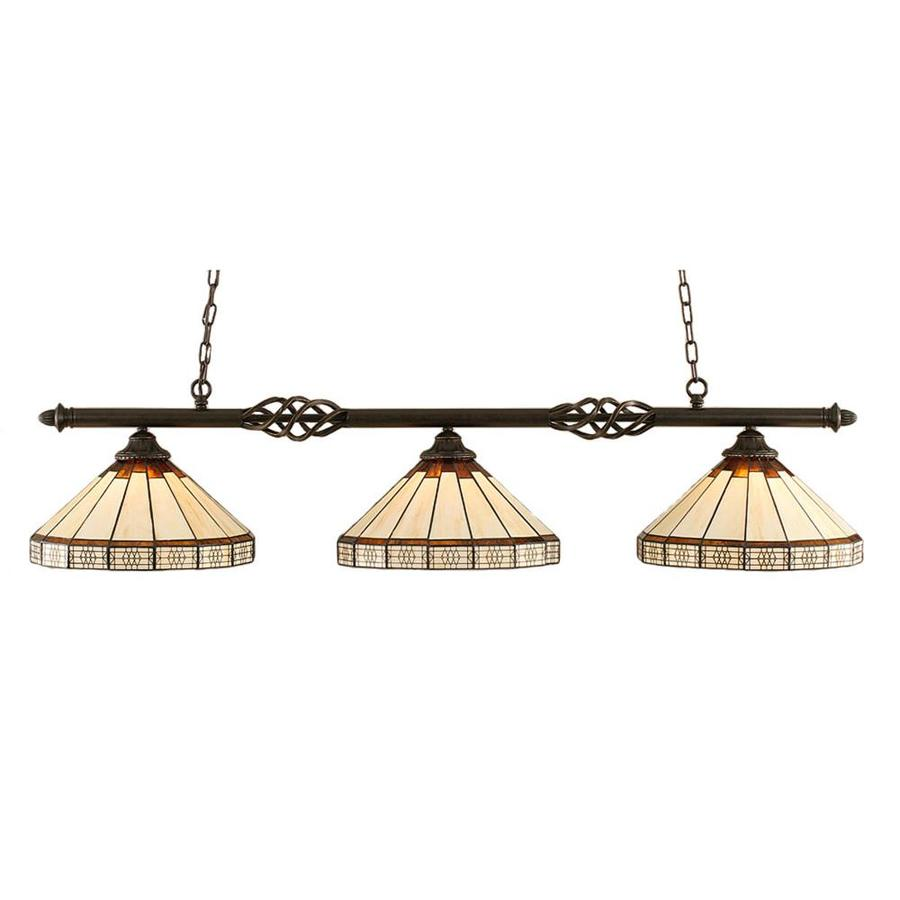 Divina 15-in W 3-Light Dark Granite Kitchen Island Light with Tiffany-Style Shade