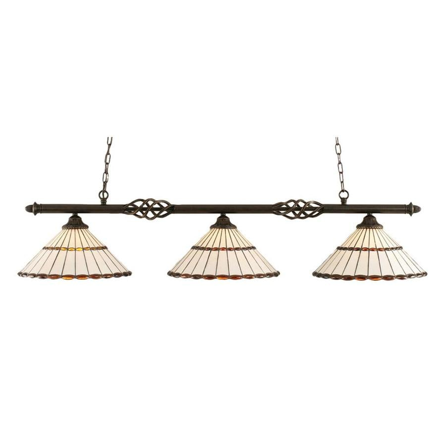 Divina 15.5-in W 3-Light Dark Granite Standard Kitchen Island Light with Tiffany-Style Shade