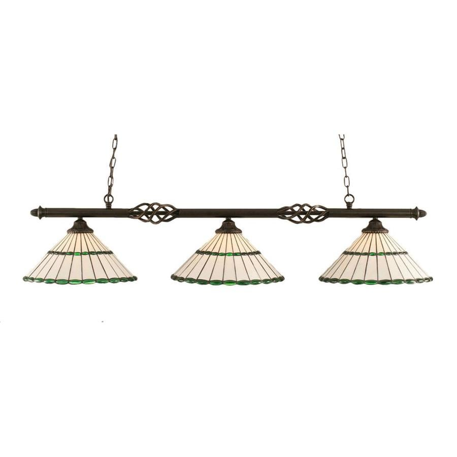Divina 15.5-in W 3-Light Dark Granite Kitchen Island Light with Tiffany-Style Shade