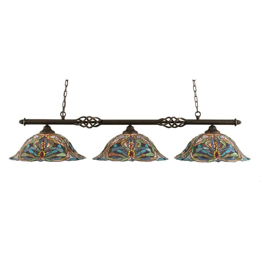 Divina 18.25-in W 3-Light Dark Granite Kitchen Island Light with Tiffany-Style Shade