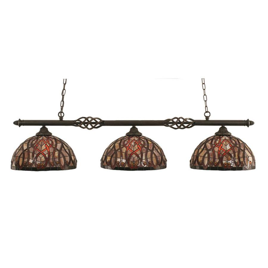 Divina 15-in W 3-Light Dark Granite Kitchen Island Light with Tiffany-Style Shade