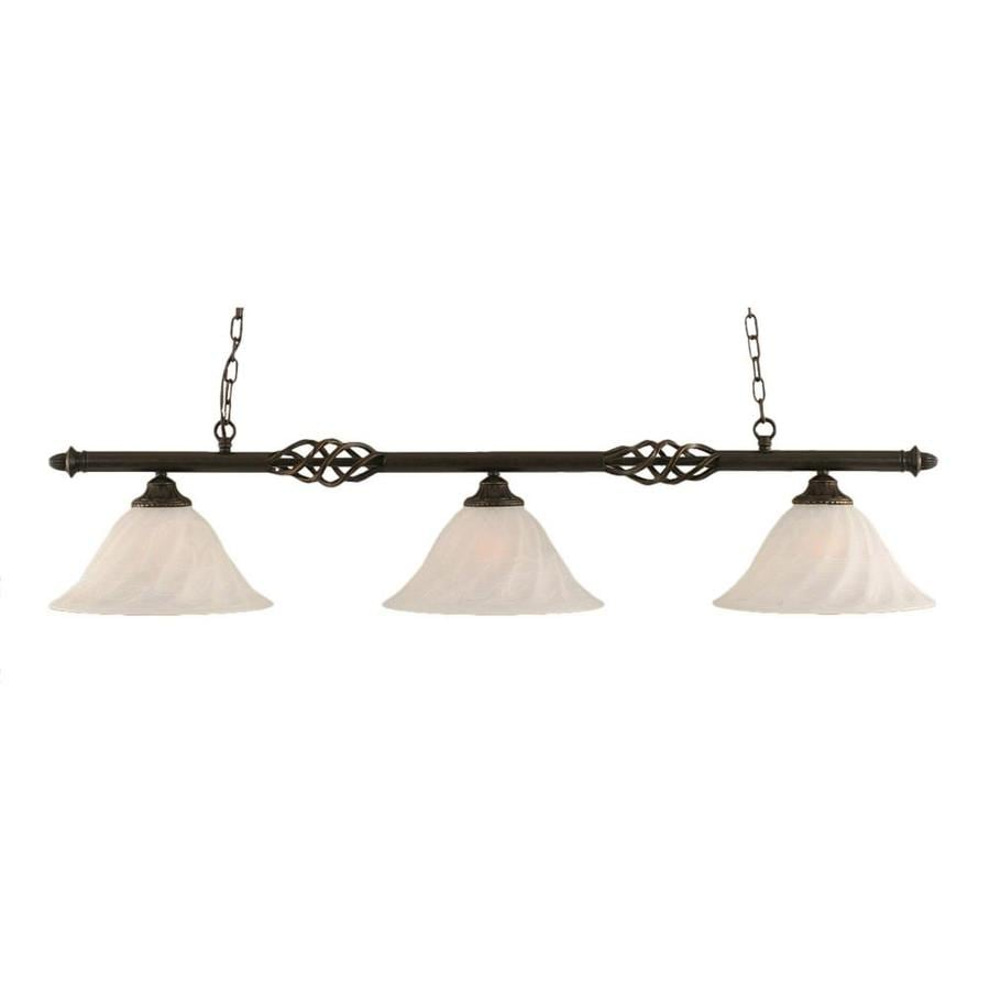 Divina 14-in W 3-Light Dark Granite Kitchen Island Light with Frosted Shade