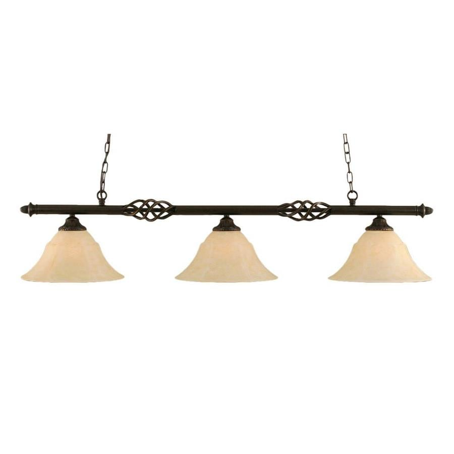 Divina 14-in W 3-Light Dark Granite Kitchen Island Light with Tinted Shade