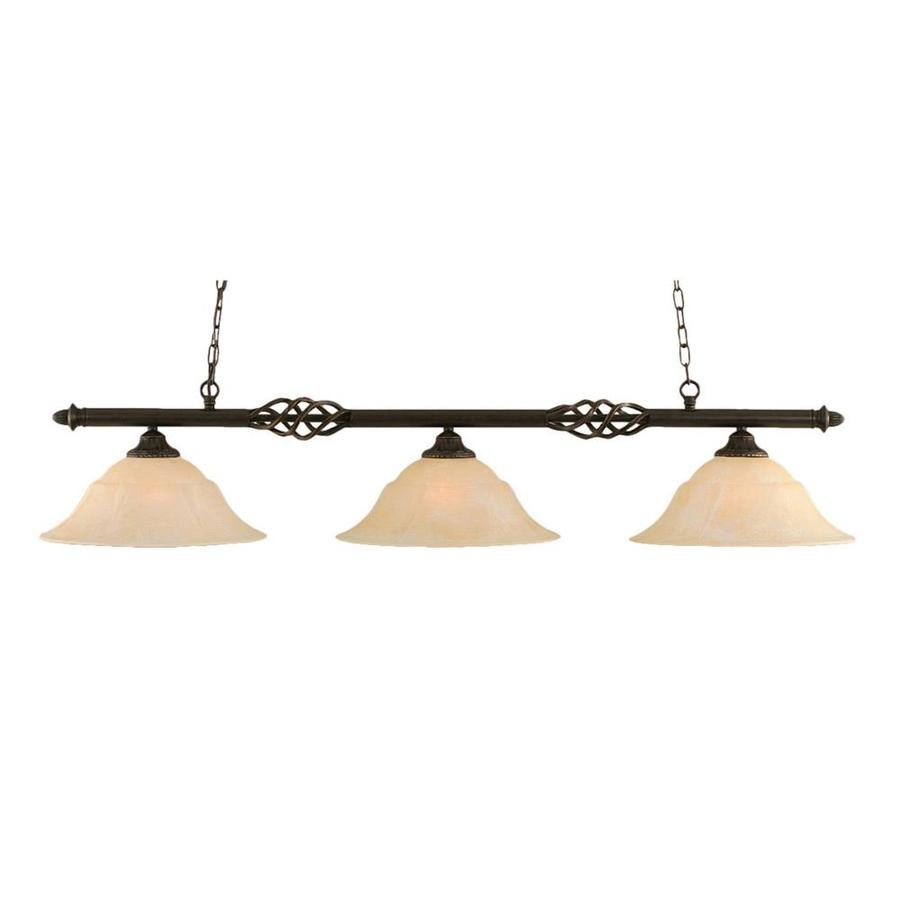 Divina 16-in W 3-Light Dark Granite Kitchen Island Light with Tinted Shade