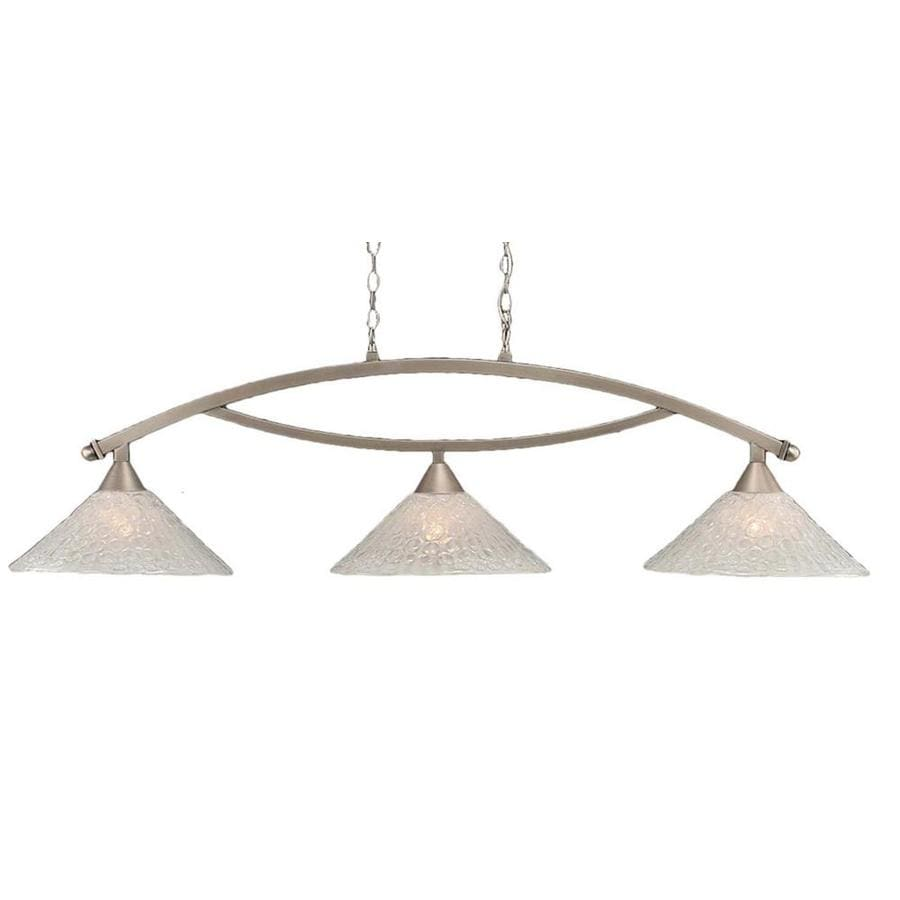 Divina 16-in W 3-Light Brushed Nickel Kitchen Island Light with Frosted Shade