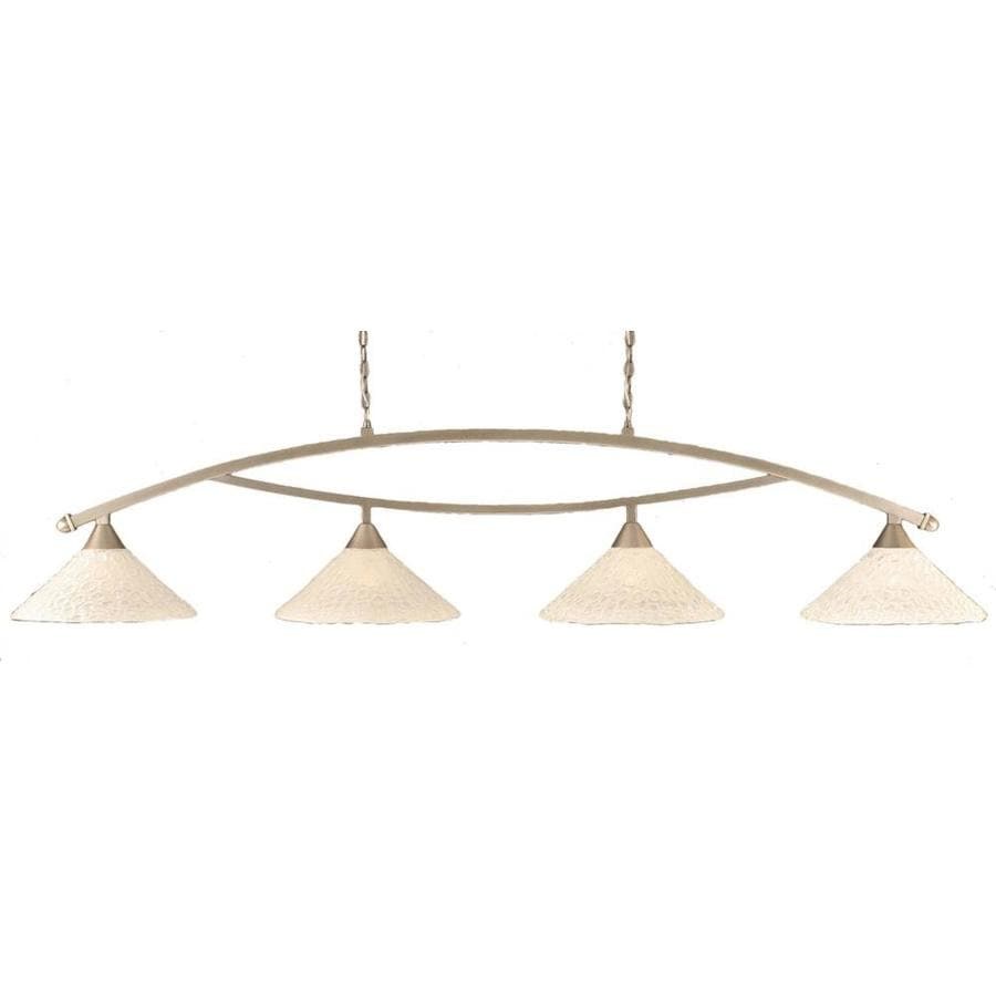 Divina 16-in W 4-Light Brushed Nickel Kitchen Island Light with Tinted Shade