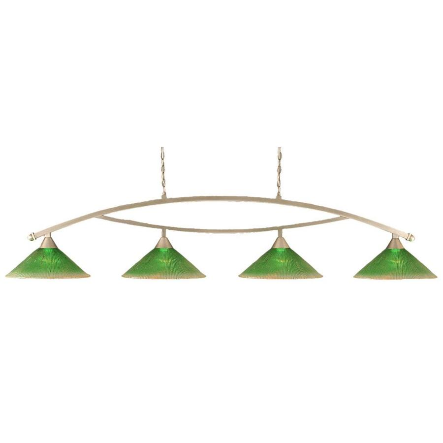 Divina 16-in W 4-Light Brushed Nickel Standard Kitchen Island Light with Textured Shade
