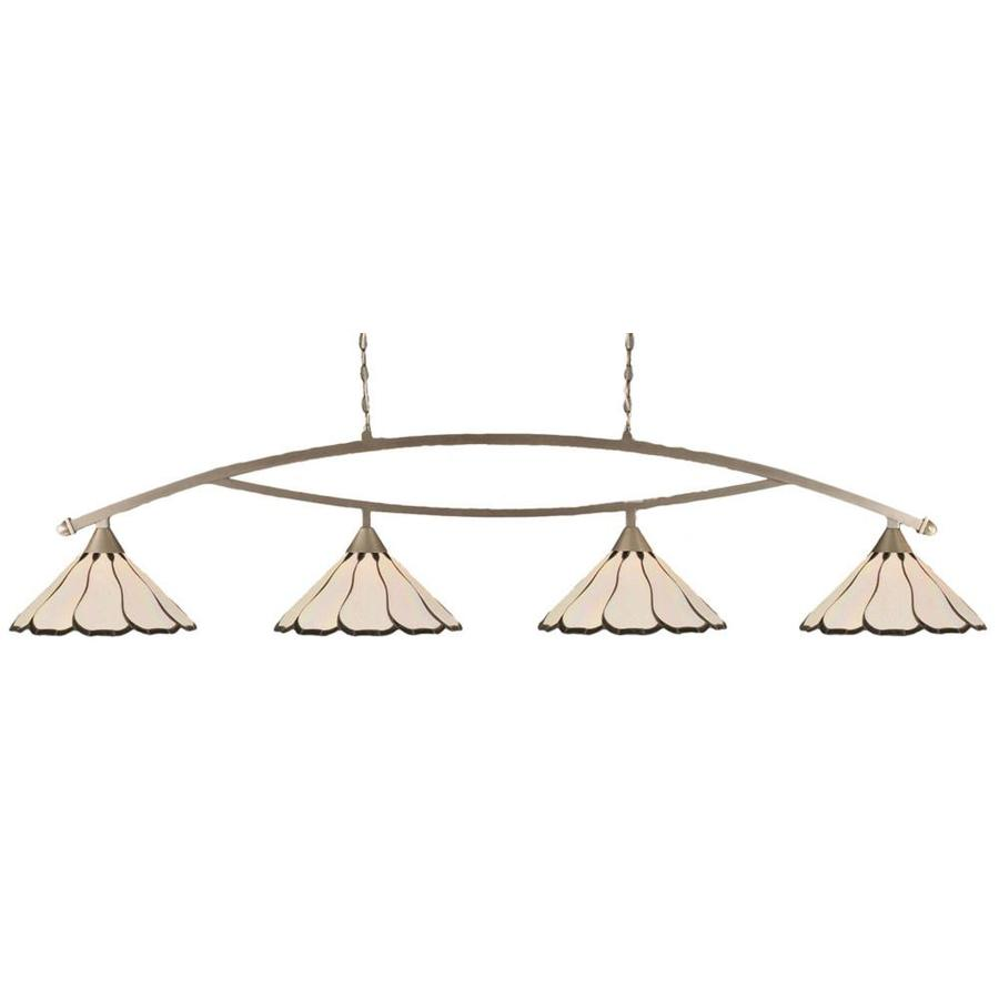 Divina 16-in W 4-Light Brushed Nickel Kitchen Island Light with Tiffany-Style Shade