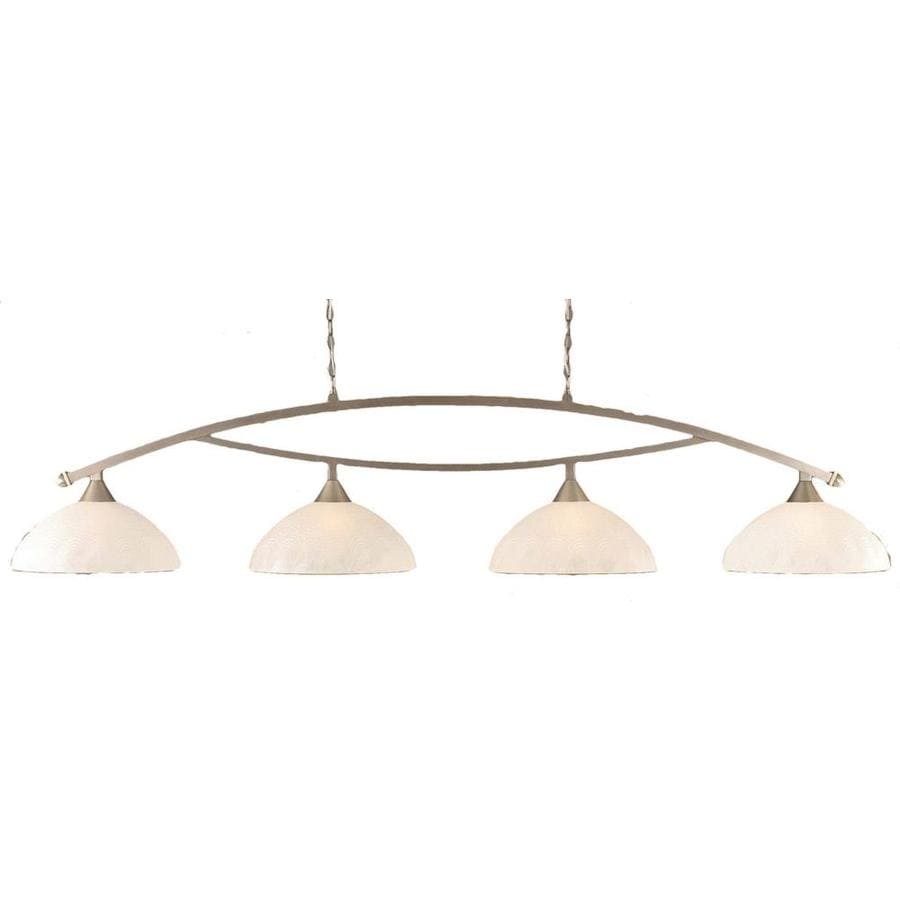 Divina 16-in W 4-Light Brushed Nickel Kitchen Island Light with Frosted Shade
