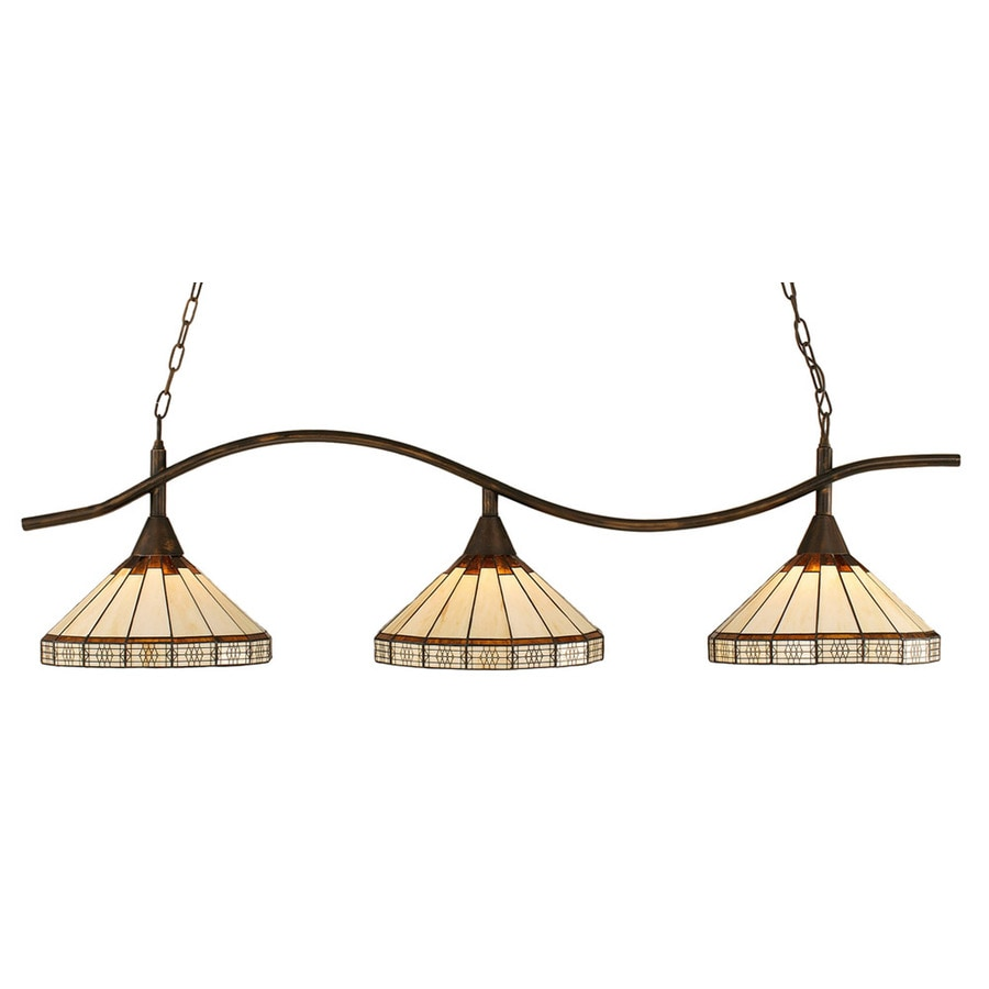 Divina 14-in W 3-Light Bronze Kitchen Island Light with Tiffany-Style Shade