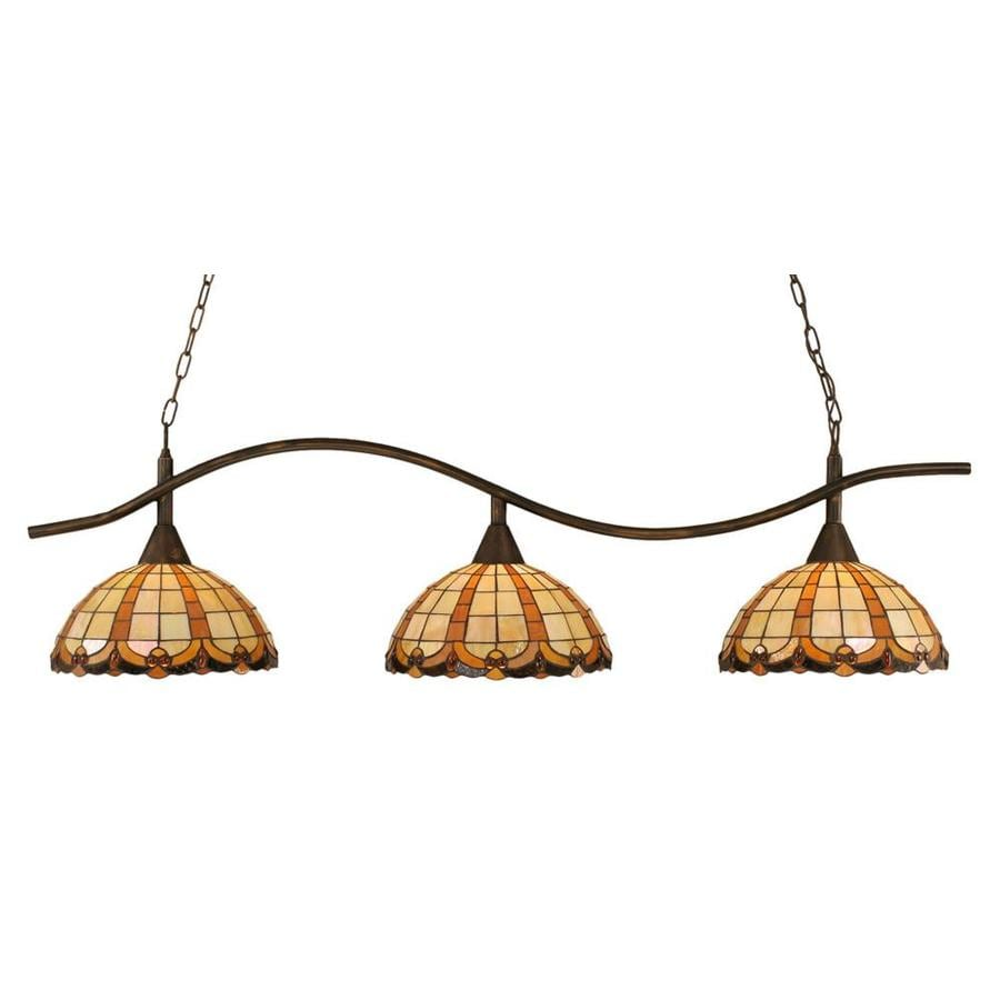 Divina 14.75-in W 3-Light Bronze Kitchen Island Light with Tiffany-Style Shade