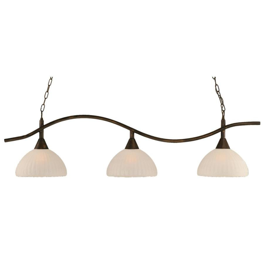 Brooster 14-in W 3-Light Bronze Kitchen Island Light with Frosted Shade