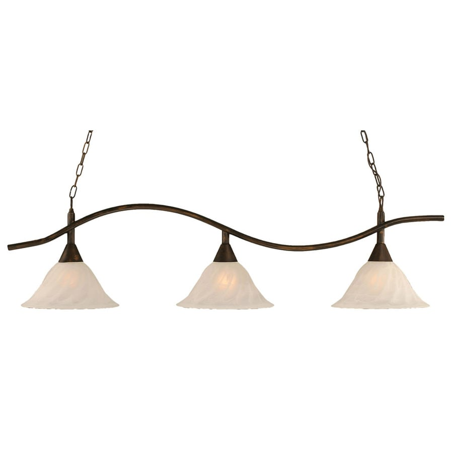 Divina 14-in W 3-Light Bronze Kitchen Island Light with Frosted Shade