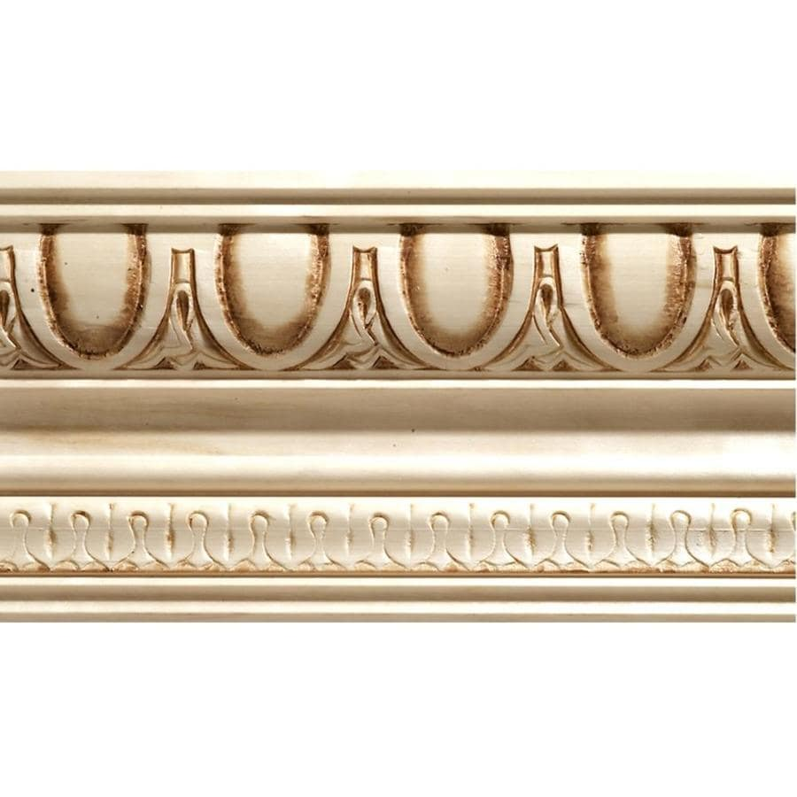 EverTrue 4-in x 8-ft White Hardwood Egg and Dart Crown Moulding