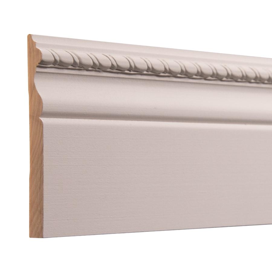 Ornamental 4-in x 8-ft Interior White Hardwood Primed Baseboard Moulding