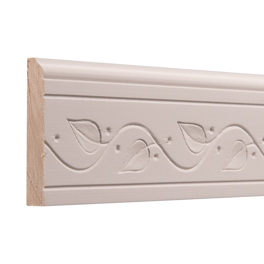 Ornamental 3-in x 8-ft Interior White Hardwood Primed Baseboard Moulding