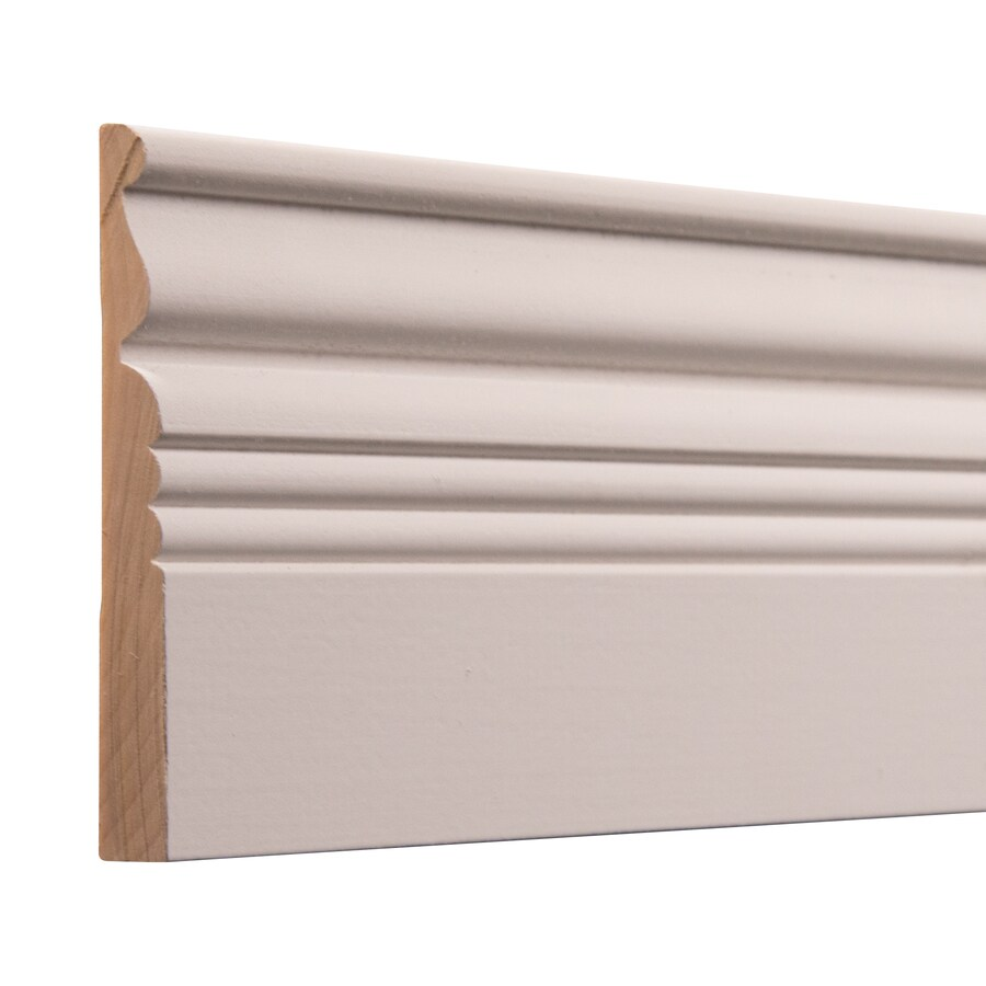 Ornamental 4-in x 8-ft Interior White Hardwood Primed Baseboard Moulding