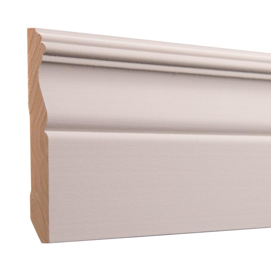 Ornamental 4.25-in x 8-ft Interior White Hardwood Primed Baseboard Moulding