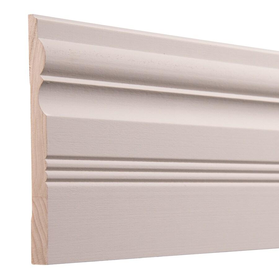 Ornamental 5.5-in x 8-ft Interior White Hardwood Primed Baseboard Moulding