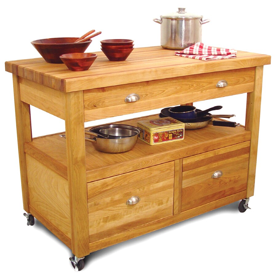 Catskill Craftsmen 26-in L x 48-in W x 36-in H Northeastern Hardwood/Oiled Kitchen Island Casters