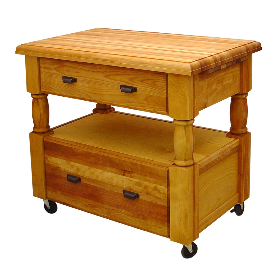 Catskill Craftsmen 24-in L x 40-in W x 35.5-in H Northeastern Hardwood/Oiled Kitchen Island Casters