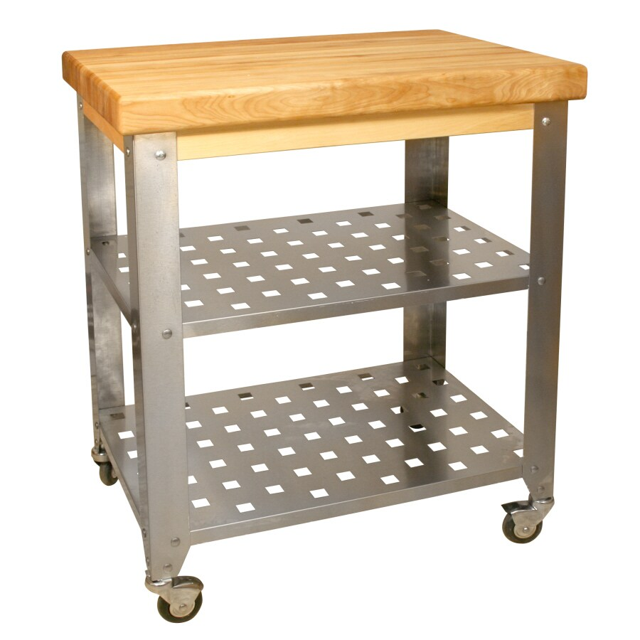 Catskill Craftsmen 20-in L x 30-in W x 36-in H Stainless Steel Kitchen Island with Casters