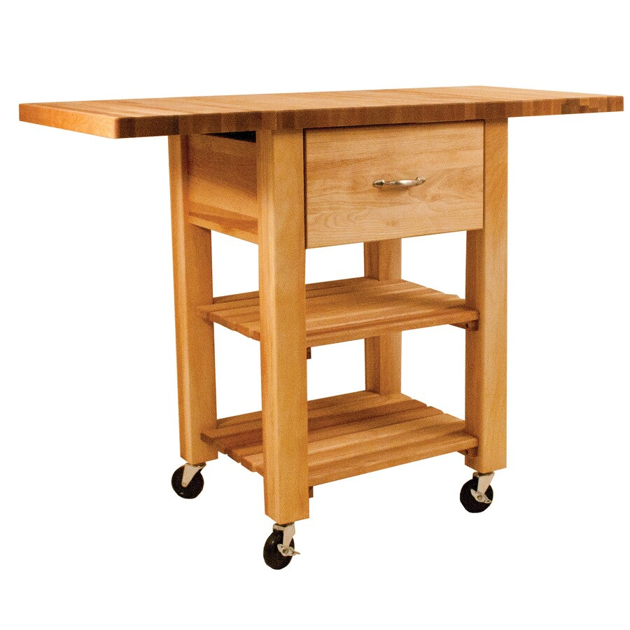 Catskill Craftsmen 46-in L x 20-in W x 35.25-in H Natural Kitchen Island with Casters