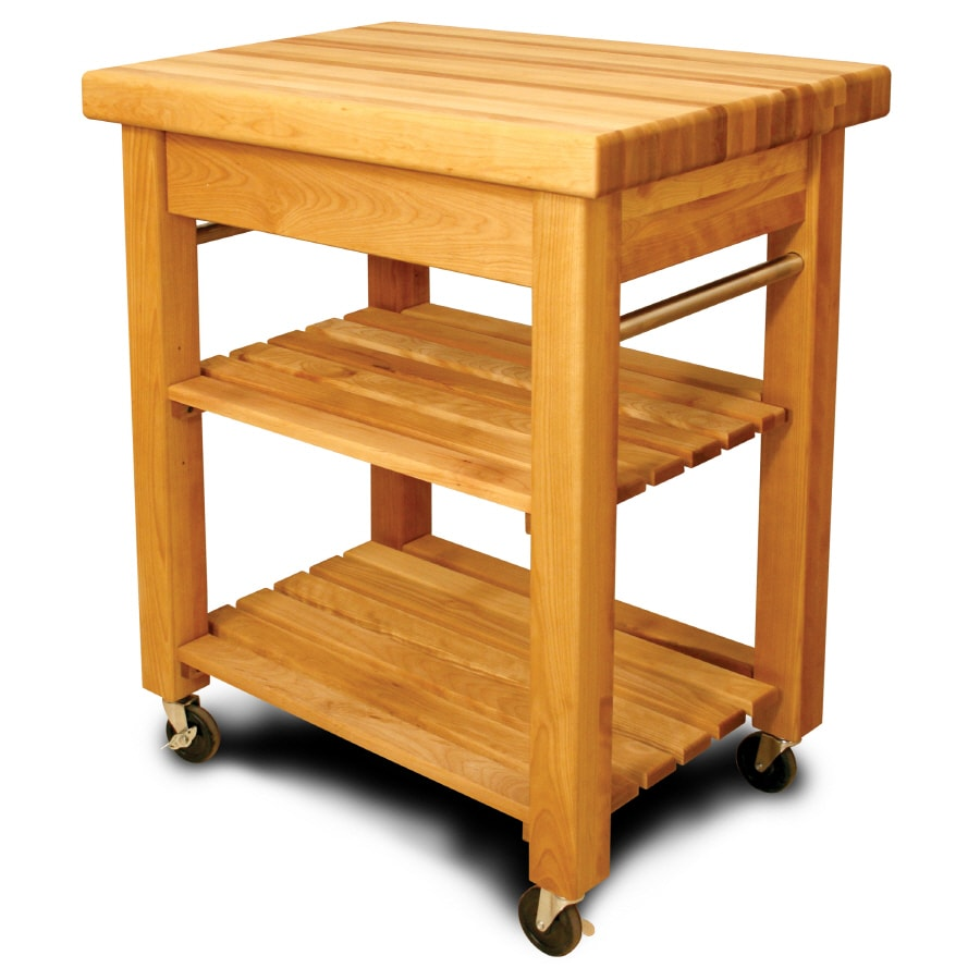Catskill Craftsmen 20-in L x 30-in W x 36-in H Northeastern Hardwood/Oiled Kitchen Island with Casters