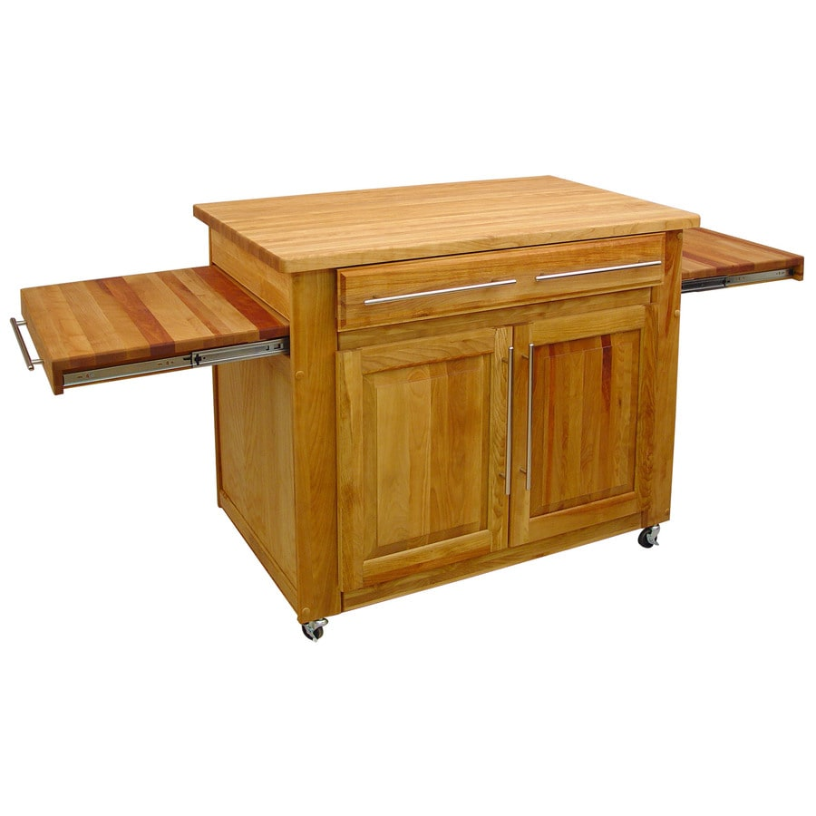 Catskill Craftsmen 26-in L x 82-in W x 36-in H Natural/Oiled Kitchen Island with Casters