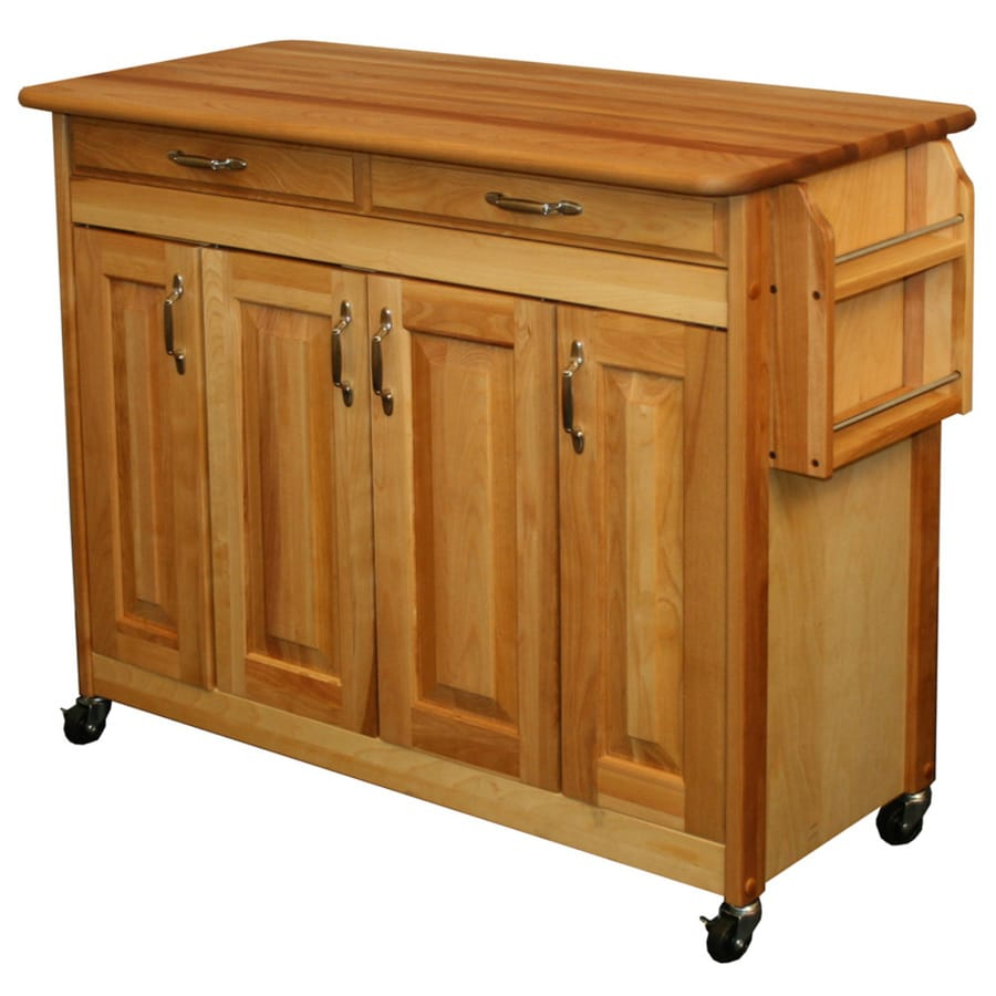 Catskill Craftsmen 44.375-in L x 20-in W x 34.5-in H Natural Kitchen Island with Casters