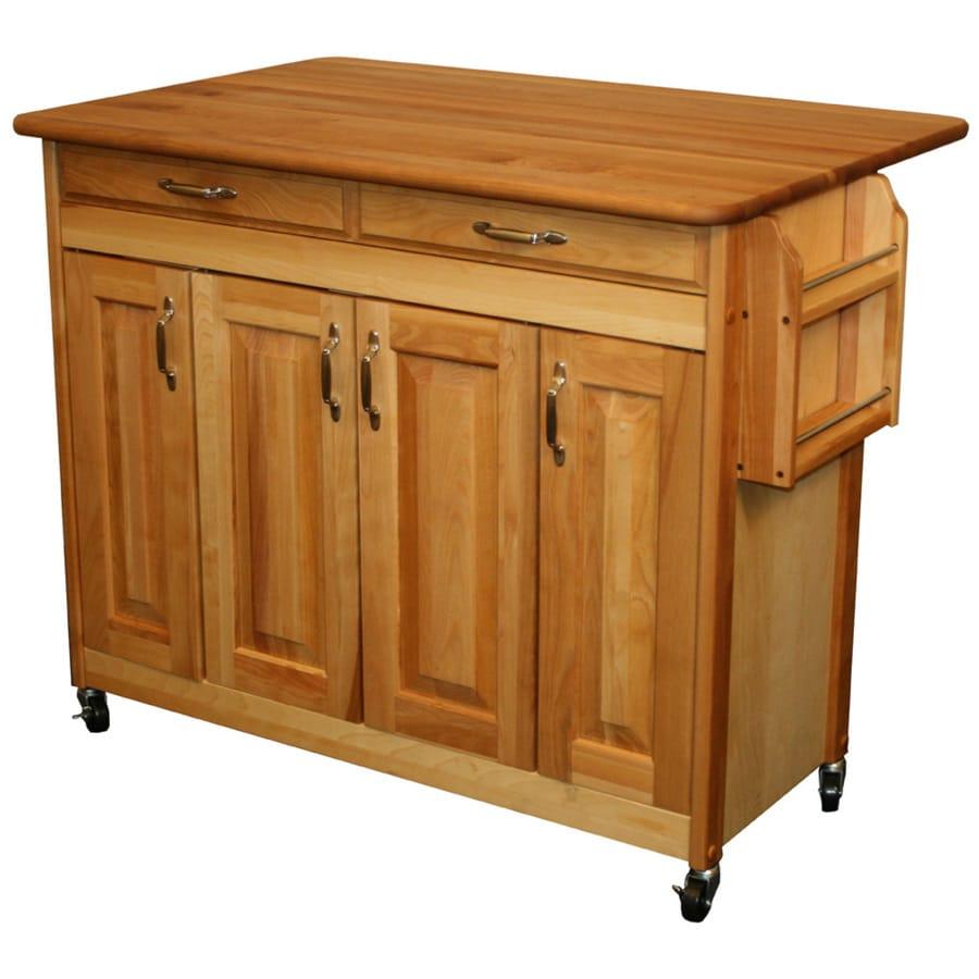 Catskill Craftsmen 44.375-in L x 28-in W x 34.5-in H Natural Kitchen Island Casters