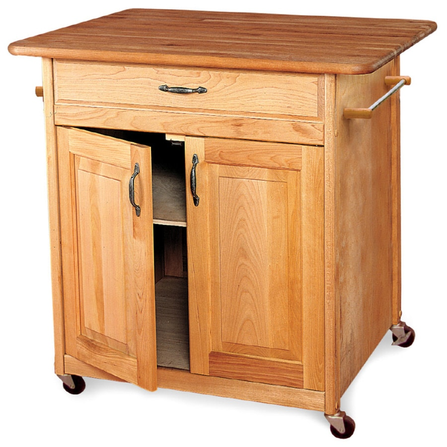 Catskill Craftsmen 30-in L x 38-in W x 34.5-in H Natural Hardwood/Oiled Finish Kitchen Island Casters