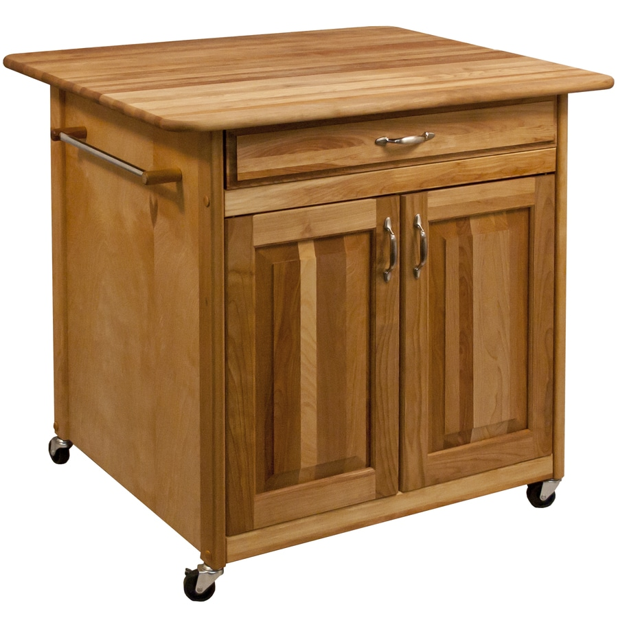Catskill Craftsmen 36-in L x 30-in W x 34.5-in H Natural Birch Kitchen Island with Casters
