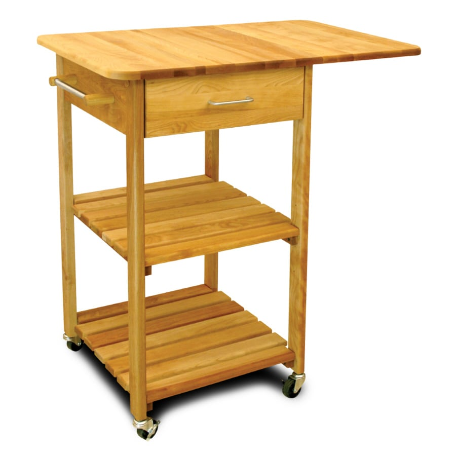 Catskill Craftsmen 30-in L x 32.75-in W x 35.5-in H Northeastern Hardwood/Oiled Kitchen Island with Casters