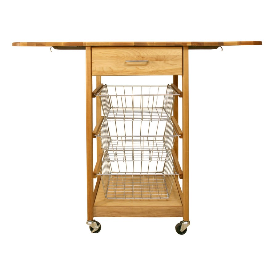 Catskill Craftsmen Dual Drop Leaf Three Basket Kitchen Cart