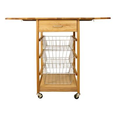 Catskill Craftsmen Dual Drop-Leaf Three-Basket Kitchen Cart ...