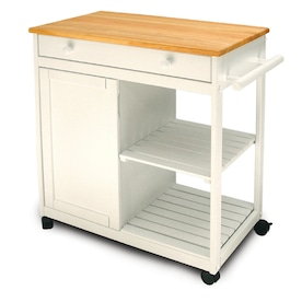 Catskill Craftsmen Brown Wood Base With Birch Butcher Block Top Kitchen Island 38 In X 40 625 In X 34 5 In In The Kitchen Islands Carts Department At Lowes Com