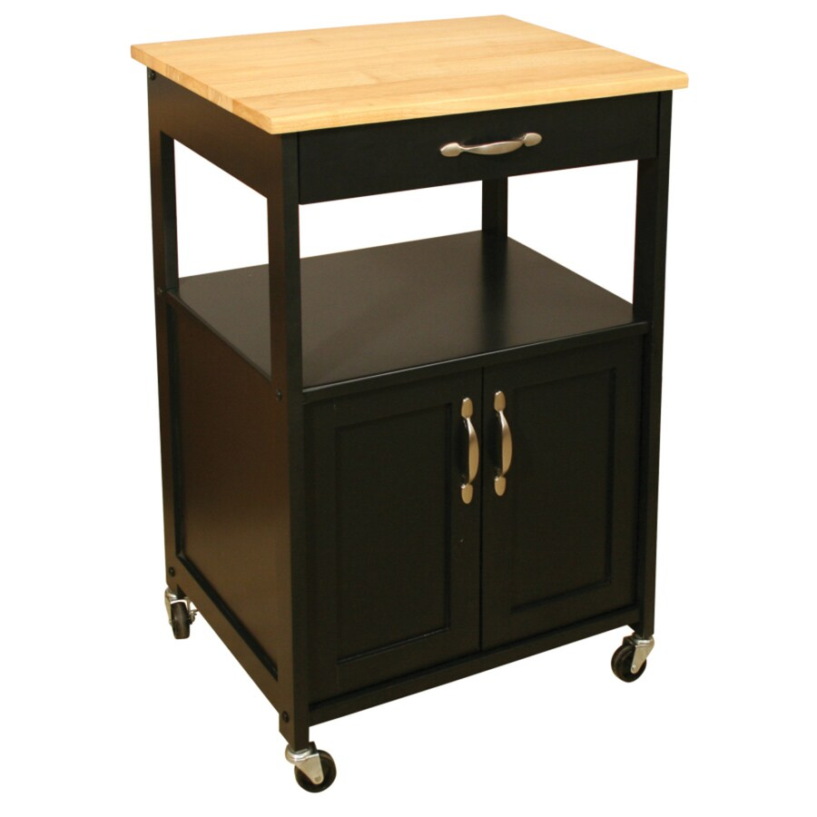 Catskill Craftsmen 17.5-in L x 23.5-in W x 34.25-in H Black Base, Natural Top Kitchen Island with Casters