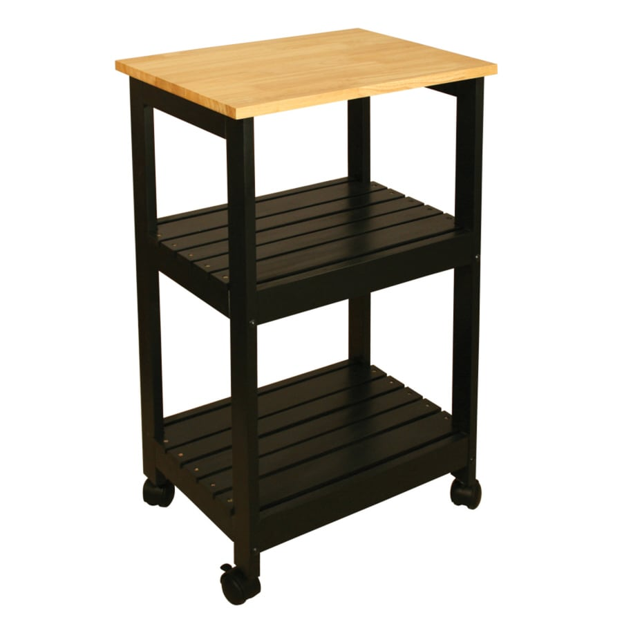 Go Home Black Industrial Kitchen Cart At Lowes Com: Shop Catskill Craftsmen Black Farmhouse Kitchen Cart At