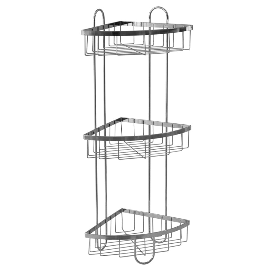 Style Selections 25.51-in H Steel Chrome Floor Freestanding Freestanding Shower Caddy