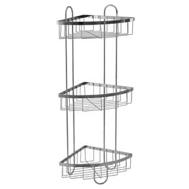 Style Selections 25.51 In H Steel Chrome Floor Freestanding Shower Caddy