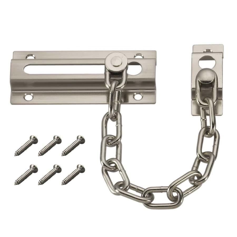 Gatehouse 3-1/3-in Satin Nickel Slide Bolt Entry Door Chain Guard