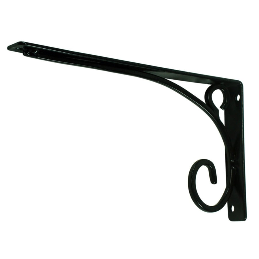 Style Selections Steel 7.99-in D x 4.53-in L x 0.79-in W Black Decorative Shelf Bracket
