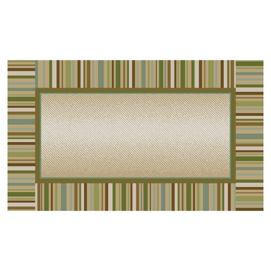 Maples Industries 20 X 34 Green Stripe Border Accent Rug