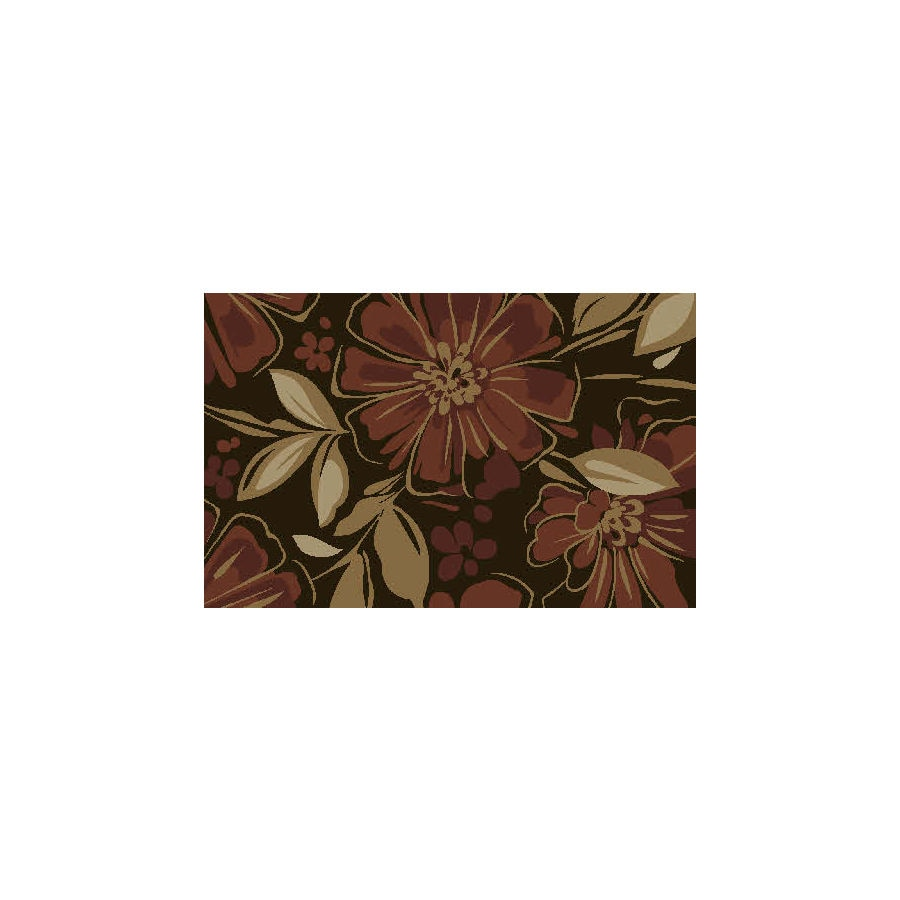 Style Selections Red/Brown Rectangular Indoor Tufted Throw Rug (Common: 3 x 4; Actual: 2.5-ft W x 4-ft L)